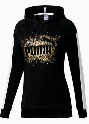 Женская худи с золотым принтом puma, glitz women's hoodie, оригинал
