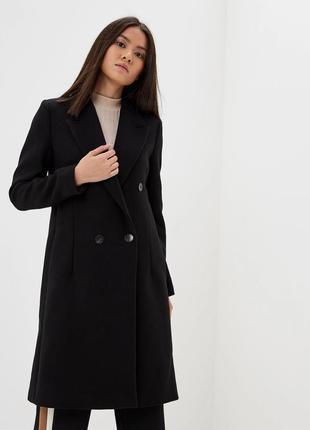 Двубортное классическое пальто шерсть в составе mango