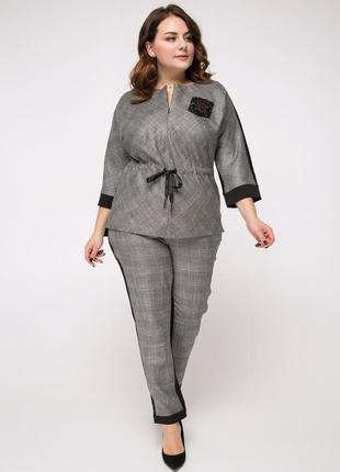 Эффектный женский брючный костюм, размеры 50-56