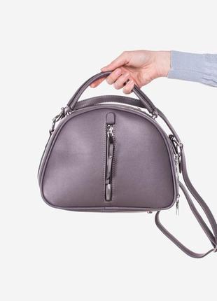 Стильная серая сумка сумочка клатч на длинной ручке модная с молнией