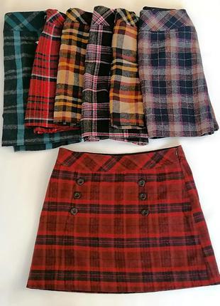 Трендовая теплая юбка в клетку 50% шерсть №4 up fashion (к076)