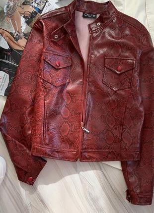 Нереальная кожаная куртка змеиный принт