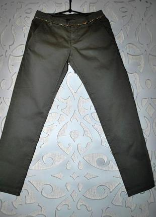 Брюки чиносы подиумные s-m серые хакки чиносы стразы италия  s-m стильные крутые