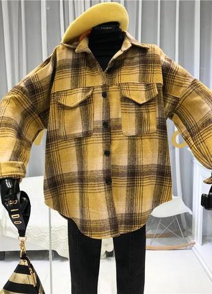 Женская трендовая  рубашка оверсайз в клетку  цвет желтый