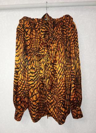 Винтажная блкза с бантом на шее, абстрактный принт, рубашка, geremiah california usa,6.