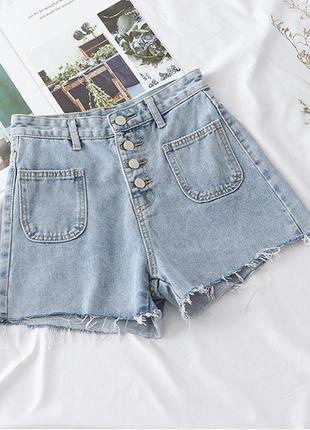 Стильные женские  джинсовые шорты с высокой посадкой размер s