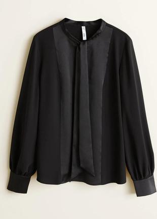 Mango - атласная блузка с бантом
