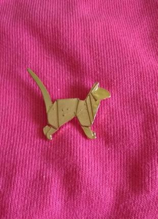 Значок золотой геометрический кот, брошь, брошка, пин