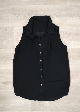 Черная шифоновая рубашка без рукавов