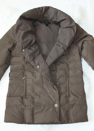 Пуховик куртка зефирка стеганая коричневая демисезонная зимняя zara (к003)