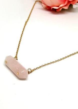 🌸 нежное колье: кулон с розовым кварцем на цепочке от h&m оригинал🌸