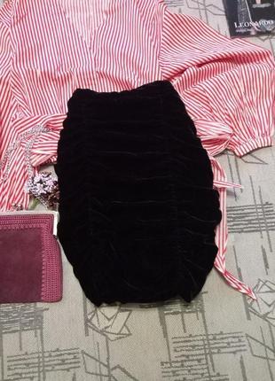 Cтильная бархатная юбка с драппировкой, h&m,размер s-m