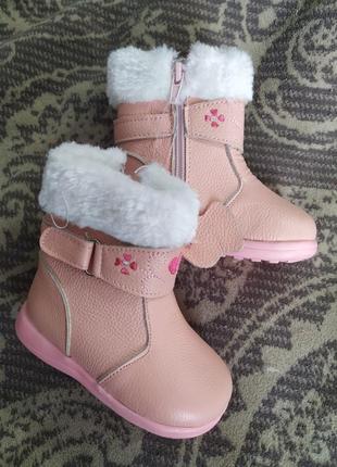 Демисезонные утепленые кожаные сапоги ботинки на девочку
