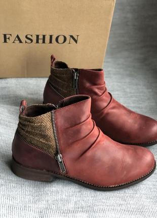 Вишневые полу ботинки, ботильоны бренд caterpillar оригинал из натуральной кожи