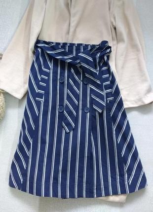 Хлопковая миди юбка с карманами на высокой посадке