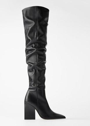 Невероятные кожаные сапоги-ботфорты на каблуке