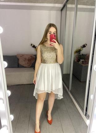 Нарядное коктейльное платье в пайетках №300