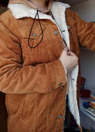 Удлиненная вельветовая куртка меховушка шерпа denim co