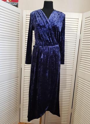 Синее велюровое бархатное платье миди & other stories