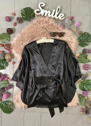 Актуальная сатиновая блуза на запах №132