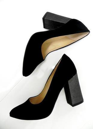 Стильные туфли осень-весна .замша. удобный каблук.
