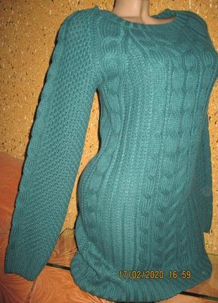 Удлинённый джемпер-платье ,цвет зелёнка