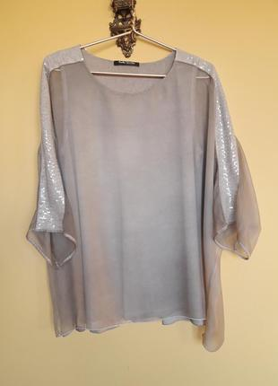 Шифоновая блуза с пайетками ,цвет хаки,