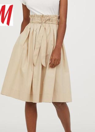 Шикарная хлопковая юбка миди с карманами и высокой талией от h&m