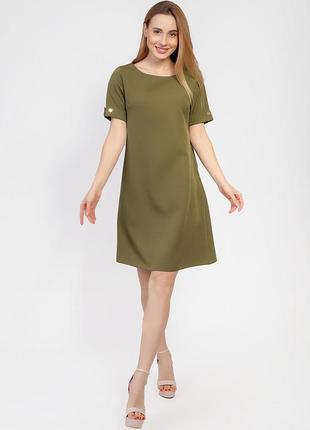 Платье с кнопками на спине, хаки