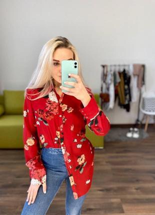 Шикарная удлиненная рубашка в цветы цветочный принт блуза кофта