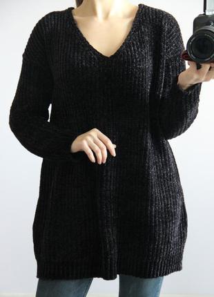 Удлиненный велюровый свитер