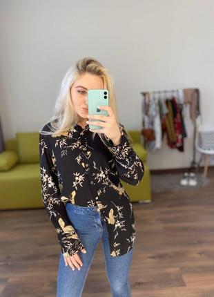 Шикарная удлиненная рубашка в цветы птицы  принт блуза кофта