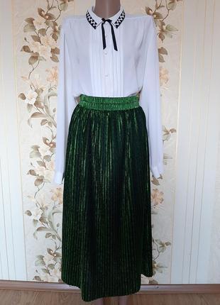 Шикарная изумрудная юбка плиссе