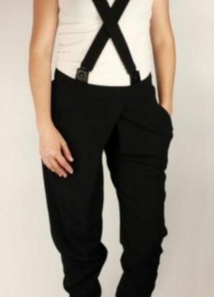 Balenciaga.  брендовые брюки черные на подтяжках. брюки  france. брюки оригинал