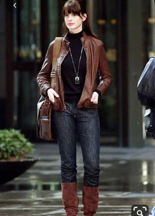 Базова натуральна шкіряна куртка відомого бренду темно коричневого кольору