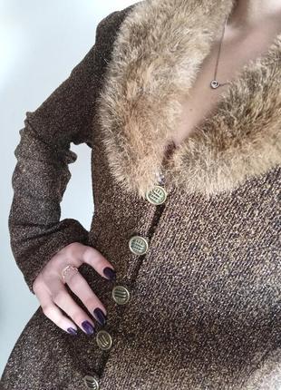 Оригинальный винтажный костюм с люрексом пальто кардиган с мехом брючный