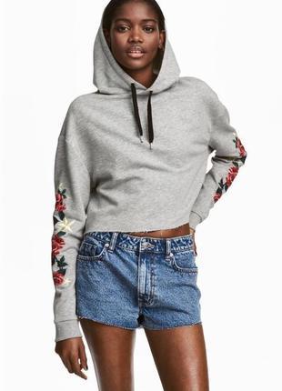Шикарное новое утепленное флисом с вышивкой котоновое худи\топ\толстовка бренд h&m h&m