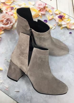 Ботинки женские на каблуке замшевые демисезонные