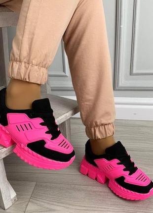 Новые шикарные женские черно-розовые кроссовки