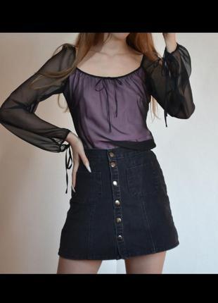 Готическая блузка сетка черная с фонариками бантами широкими рукавами