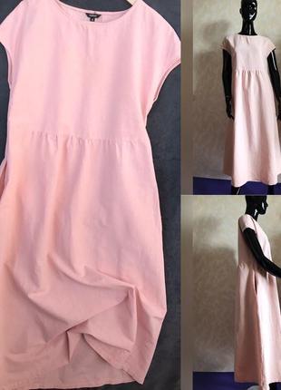 Персиковое хлопковое платье идеал м