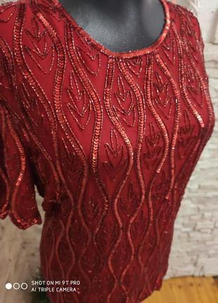 Блуза красивая праздничная нарядная красная от rare шёлк вышивка