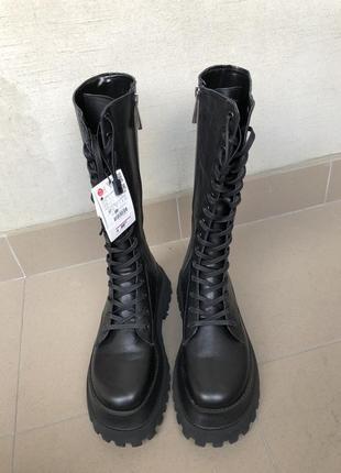 Берцы zara, черевики zara в воєнному стилі, сапоги zara, чоботи zara
