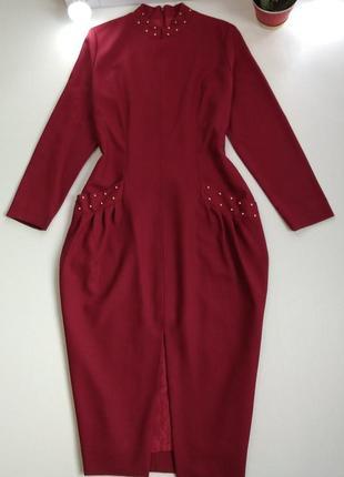 Шерстяное шикарное платье миди  100%шерсть