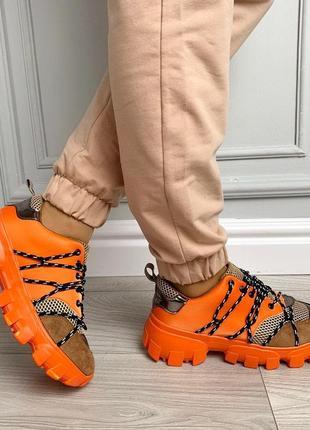 Новые шикарные женские оранжевые кроссовки