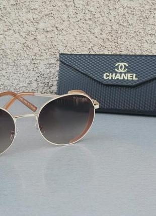 Chanel очки женские солнцезащитные коричневые с боковой защитой