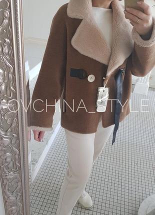 Полушубок натуральная овчина   меховая куртка дубленка шерсть 100% кашемир