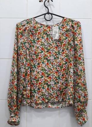 Стильная шифоновая блуза в цветочный принт