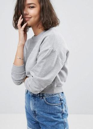 Серый базовый свитшот укороченный оверсайз asos, хлопковый худи
