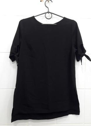 Шифоновая футболка блуза с завязками на рукавах